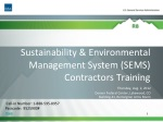 Sustainability & Environmental Management System (SEMS) Contractors Training