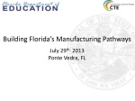Building Florida's Manufacturing Pathways July 29 th, 2013 Ponte Vedra, FL
