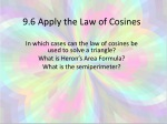 9.6 Apply the Law of Cosines