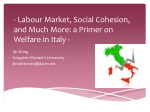 - Labour Market, Social Cohesion, and Much More: a Primer on Welfare in Italy -