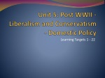 Unit 5:  Post WWII - Liberalism and Conservatism - Domestic Policy