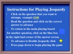 Instructions for Playing Jeopardy