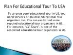 Plan For Educational Tour To USA