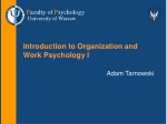 Introduction to Organization and Work Psychology I