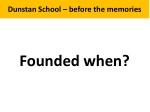 Dunstan School – before the memories