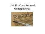 Unit IB : Constitutional Underpinnings