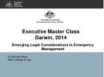 Executive Master Class Darwin,  2014