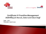 Certificate IV Frontline Management BSBHRM402A Recruit, Select and Induct Staff