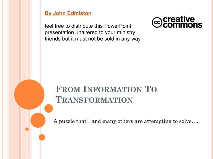 from information to transformation n.