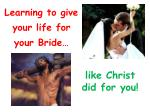 Learning to give your life for your Bride…