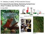 St. Johnsbury Academy: AP Environmental Science Environmental Decision Making: Maintaining the Big Picture Andy F