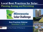 Local Best Practices for Solar: Planning, Zoning, and Permitting