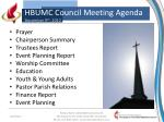 HBUMC Council Meeting Agenda December 9 th , 2012
