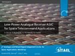 Low-Power Analogue Receiver ASIC for Space Telecommand Applications