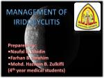 Management of iridocyclitis