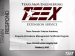 Texas Forensic Science Academy  Property & Evidence Management Certificate Program to Texas Criminal Justice Integri