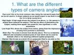 1. What are the different types of camera  angles?