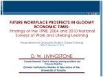 FUTURE WORKPLACE PROSPECTS IN GLOOMY ECONOMIC TIMES: Findings of the 1998, 2004 and 2010 National Surveys of Work and L