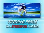 FINDING PEACE  in a  STRESSFULL WORLD