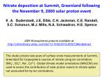 Nitrate deposition at Summit, Greenland following the November 9, 2000 solar proton event