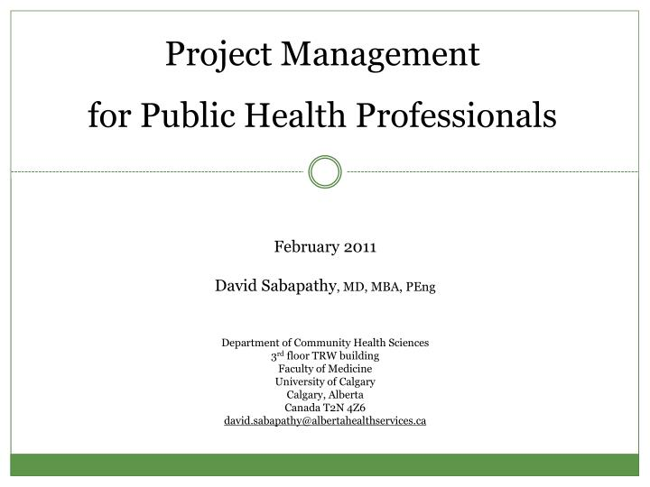 project management for public health professionals n.