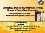 Competitor Analysis and Inter firm Rivalry: Toward a Theoretical Integration