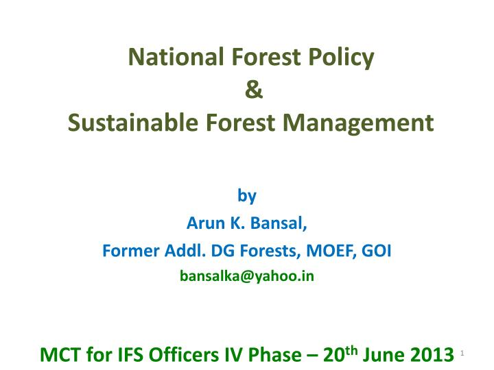 national forest policy sustainable forest management n.