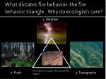 What dictates fire behavior–the fire behavior triangle. Why do ecologists care?