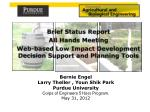 Brief Status Report All Hands Meeting Web-based  Low Impact Development Decision Support and Planning  Tools