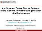 Auctions and Future Energy Systems:  Micro auctions for distributed generation with flexible zones