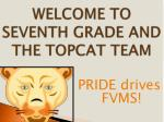 WELCOME TO SEVENTH GRADE AND THE TOPCAT TEAM