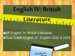 English IV: British Literature