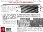 The Role of Instabilities on Microstructural Evolution in Titanium Alloys