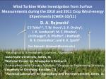 Wind Turbine Wake Investigation from Surface Measurements during the 2010 and 2011 Crop Wind-energy EXperiments (CWEX-10