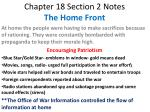 Chapter 18 Section 2 Notes The Home Front