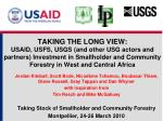 TAKING THE LONG VIEW: USAID, USFS, USGS (and other USG actors and partners) Investment in Smallholder and Community Fore