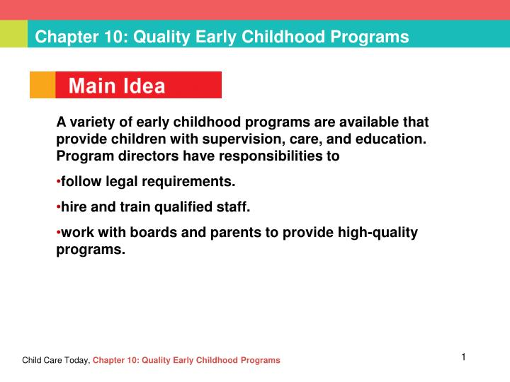 chapter 10 quality early childhood programs n.