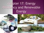 Chapter 17: Energy Efficiency and Renewable Energy