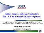 WORKSHOP ON TECHNOLOGY PATHWAYS FORWARD FOR CARBON CAPTURE & STORAGE ON NATURAL GAS POWER SYSTEMS Howard Meyer,
