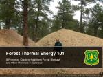 Forest Thermal Energy 101 A Primer on Creating Heat from Forest Biomass and Other Materials in Colorado