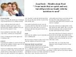Joan Doyle – Flexible about Food              '' I want meals that are quick and easy