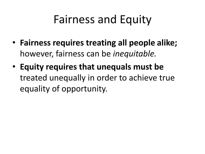 fairness and equity n.