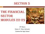 The Financial  Sector Modules 22-29