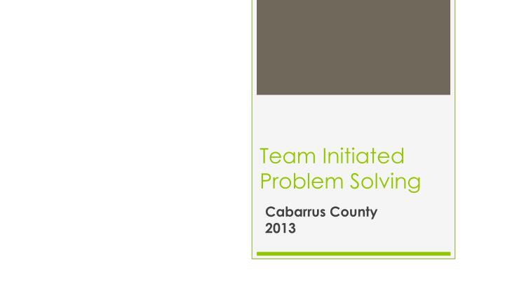 team initiated problem solving n.
