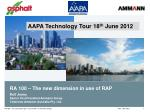 RA 100 – The new dimension in use of RAP Rolf Jenny Senior Vice President Ammann Group Chairman Ammann Australia Pty. Lt