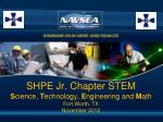 SHPE Jr. Chapter STEM S cience, T echnology, E ngineering and M ath Fort Worth, TX November 2012