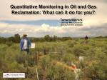 Quantitative Monitoring in Oil and Gas Reclamation: What can it do for you?