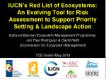 IUCN's Red List of Ecosystems: An Evolving Tool for Risk Assessment to Support Priority Setting & Landscape Action