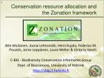 Conservation resource allocation and the Zonation framework