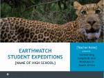 [Teacher Name]  presents: Conserving Leopards and Monkeys in  South Africa